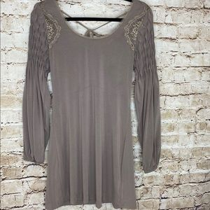 FREE PEOPLE SCOOP NECK LONG SLEEVE TUNIC DRESS TOP